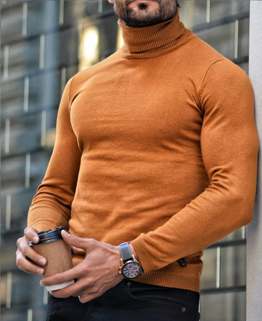Elko Camel Slim Fit Turtleneck Wool Sweater