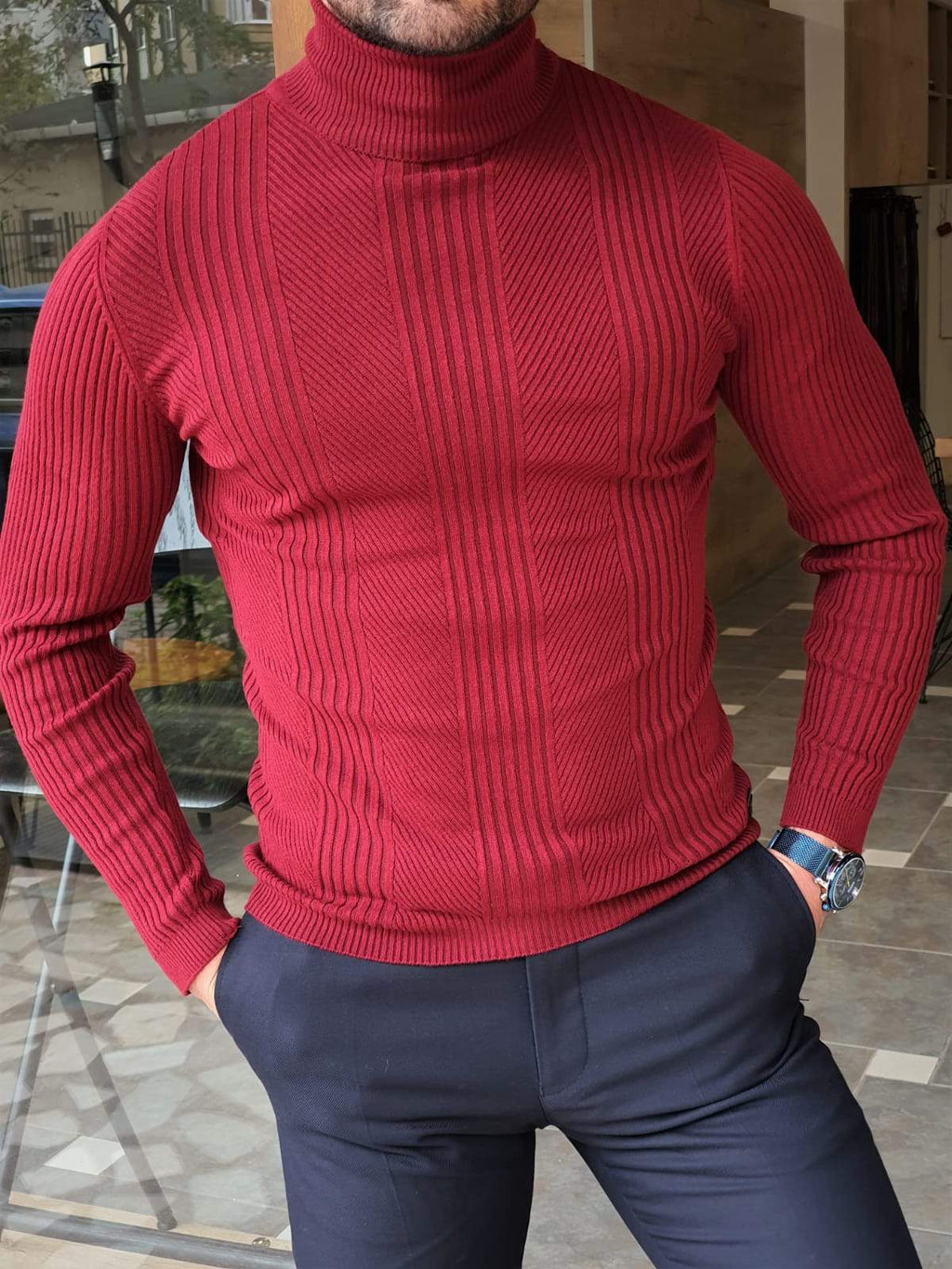 Elko Claret Red Slim Fit Striped Turtleneck Wool Sweater