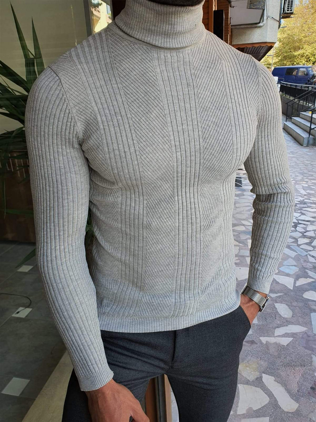 Elko Gray Slim Fit Striped Turtleneck Wool Sweater
