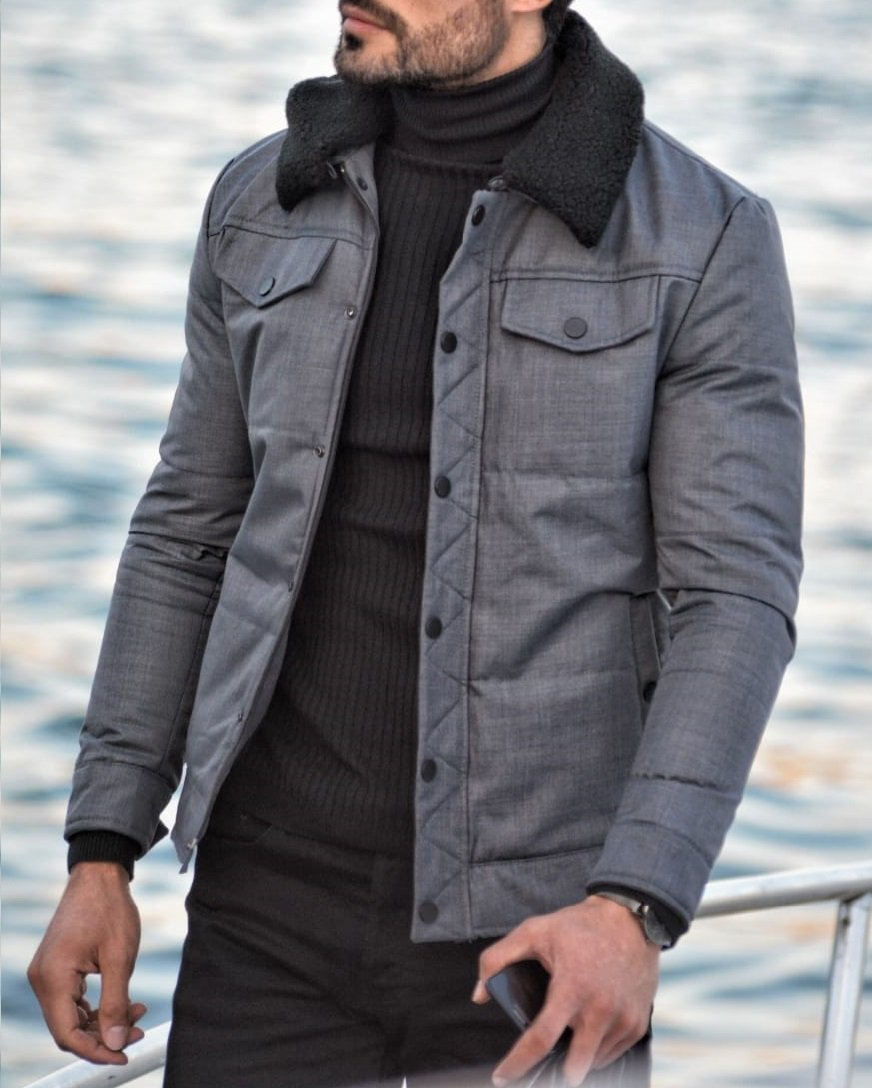 Paruri Gray Slim Fit Wool Coat