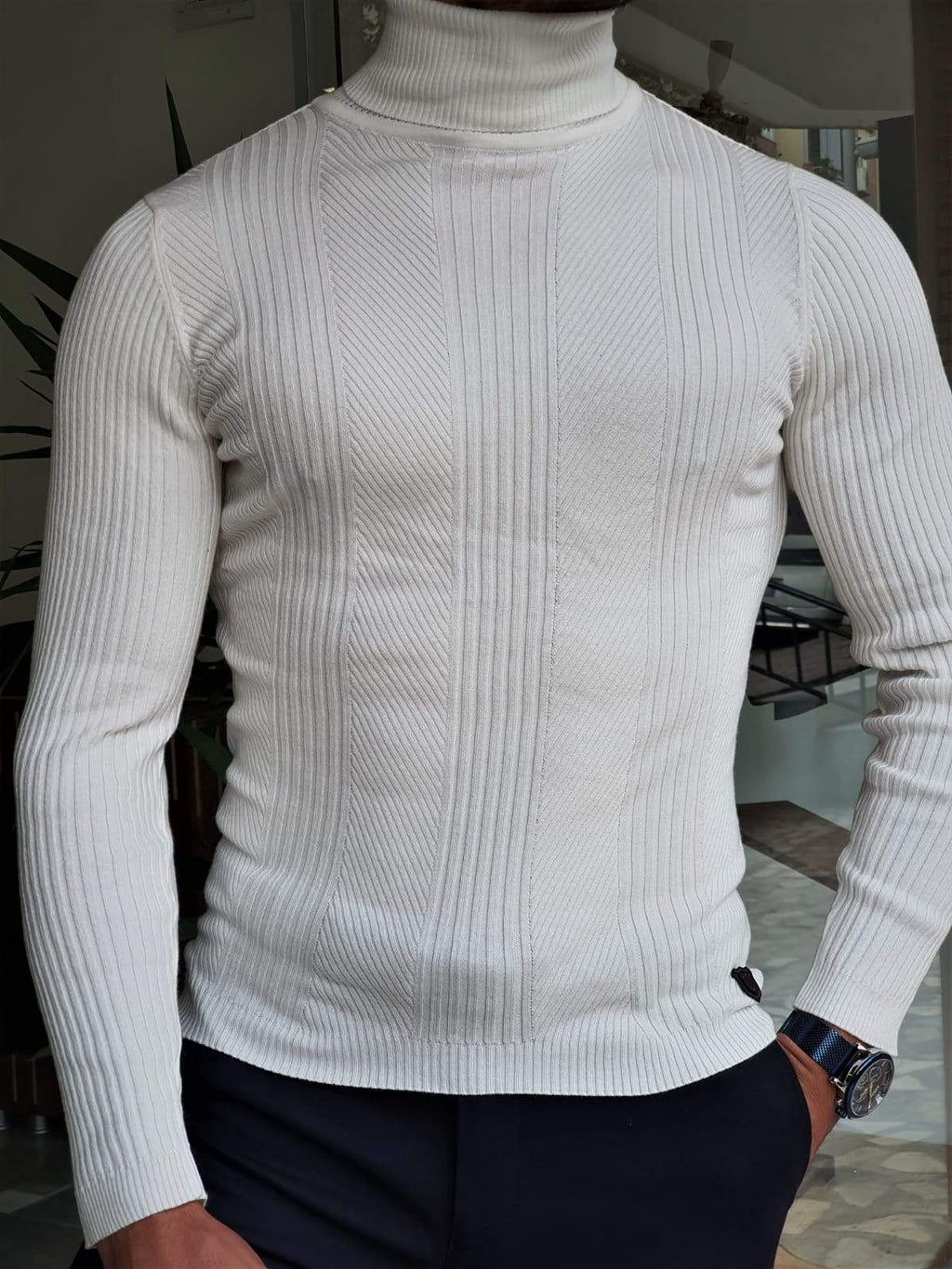 Elko White Slim Fit Striped Turtleneck Wool Sweater
