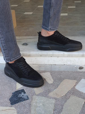 Moneta Black High-Top Suede Sneakers