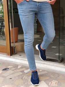 Bastoni  Blue Slim Fit Ripped Jeans