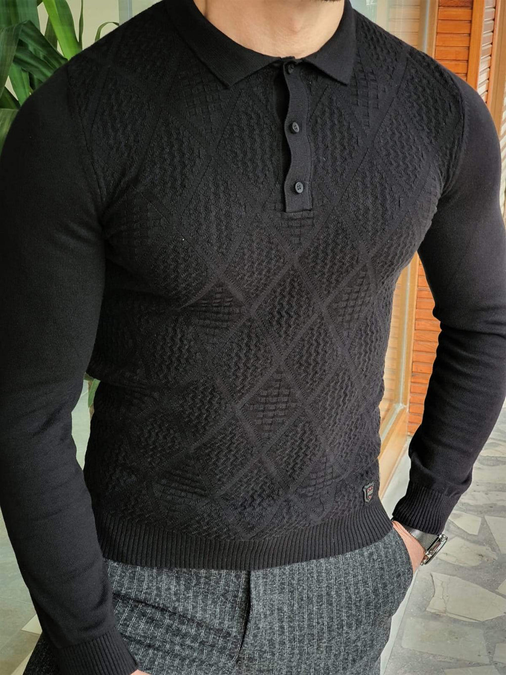 Elko Black Slim Fit Collar Sweater