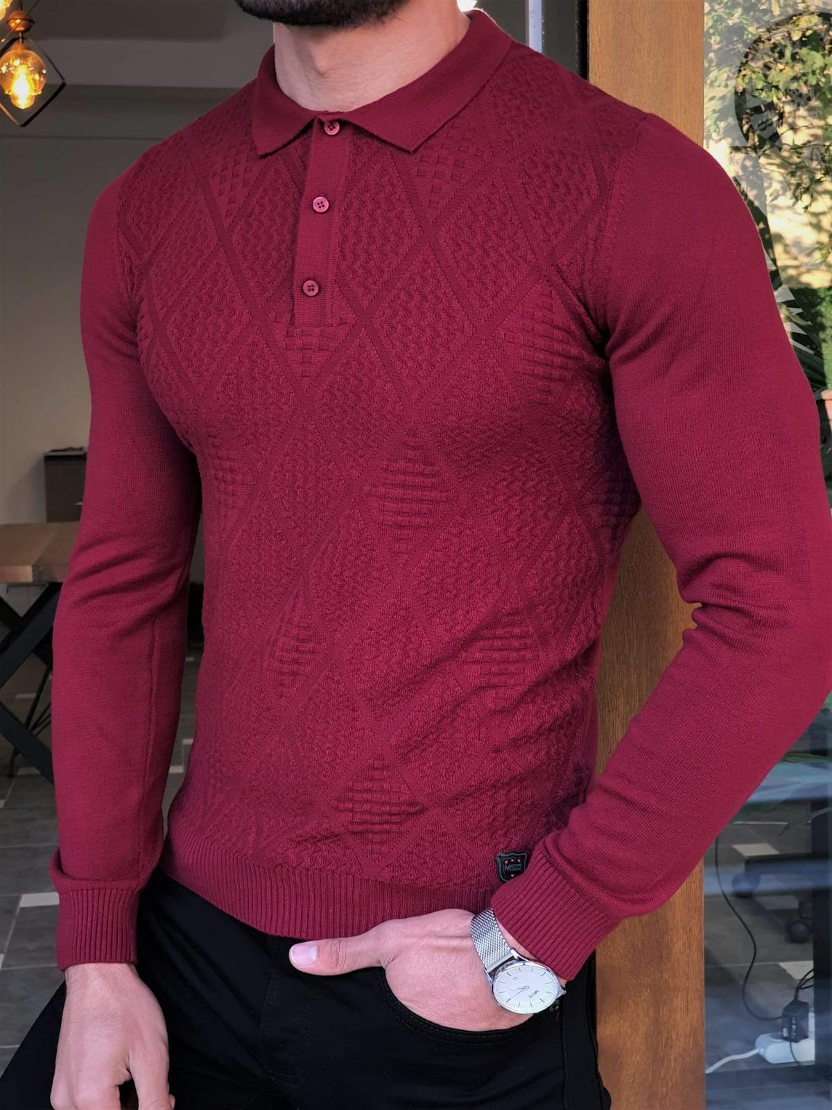 Elko Claret Red Slim Fit Collar Sweater
