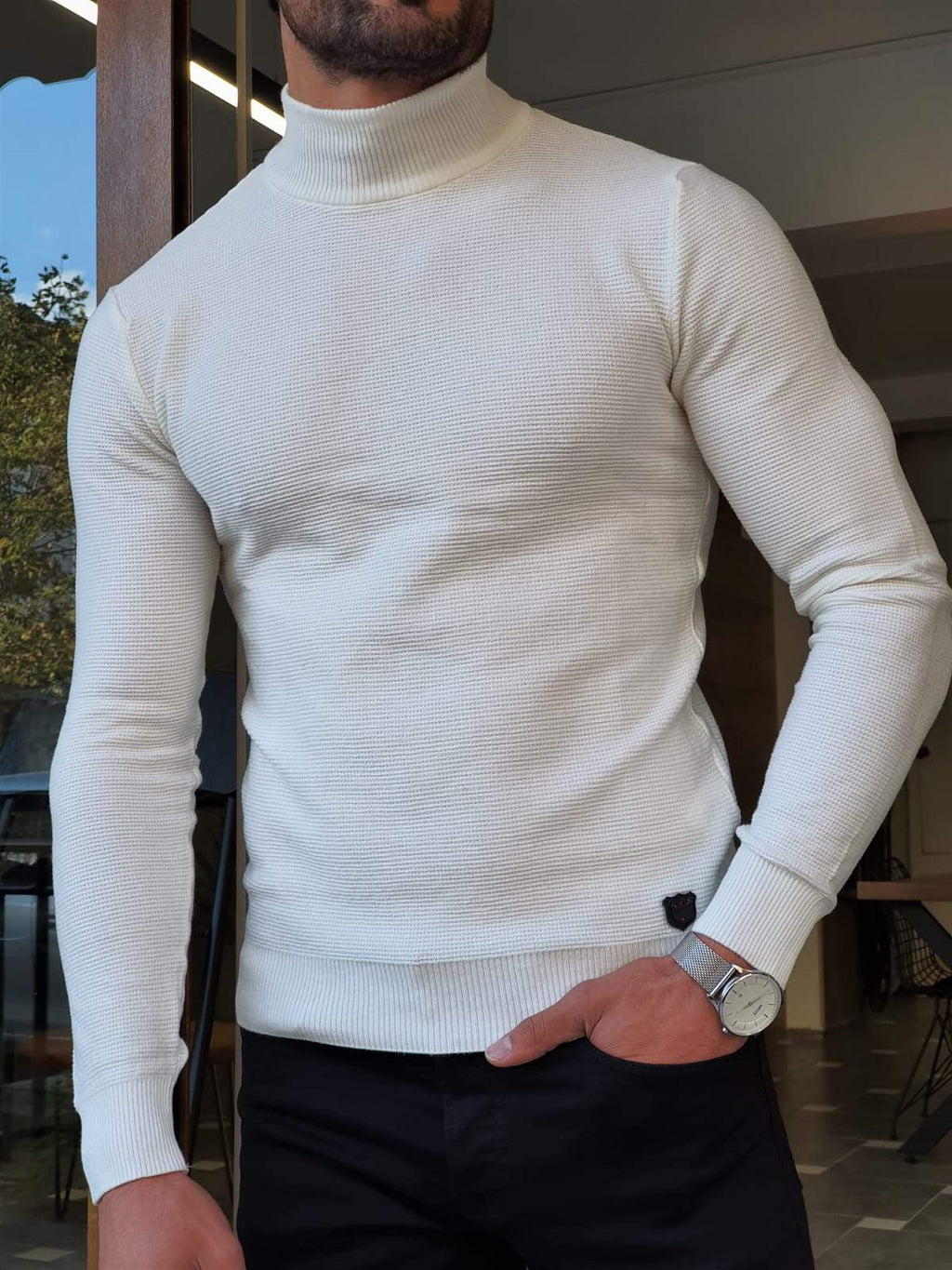 Elko White Slim Fit Mock Turtleneck Sweater