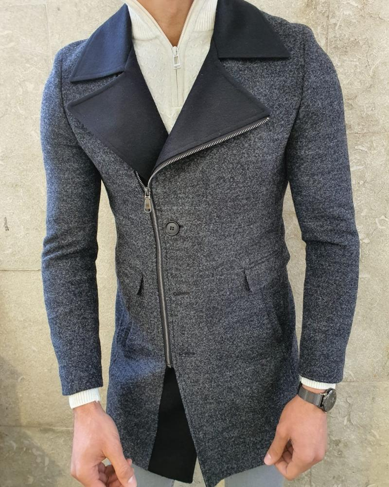 Calvin  Anthracite Slim Fit Zipper Wool Coat