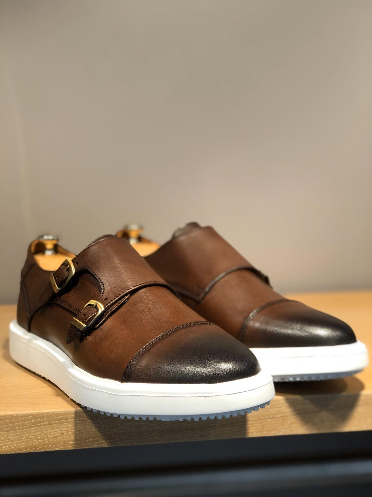 Odessa Brown Monk Strap Cap Toe Shoes