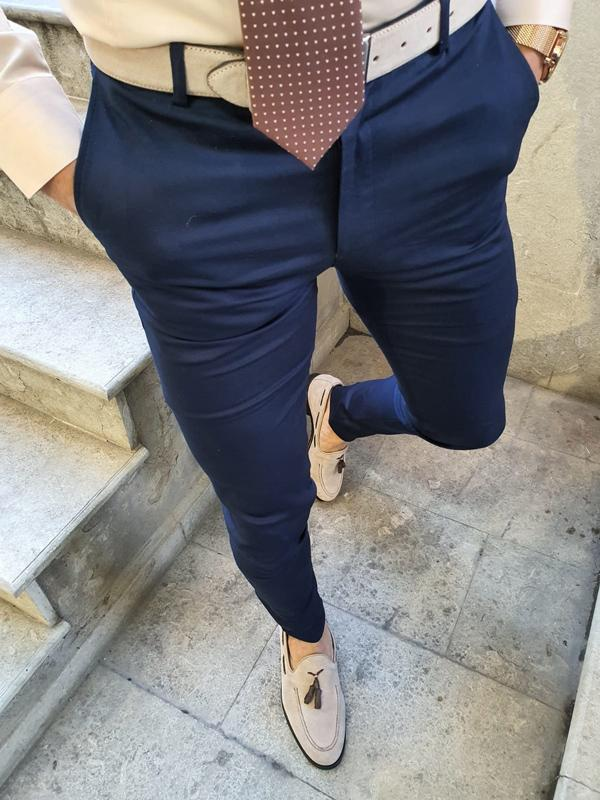 Advert Navy Blue Slim Fit Pants