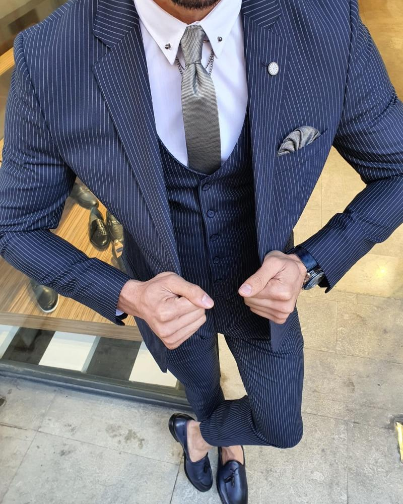 Eros Navy Blue Slim Fit Pinstripe Suit