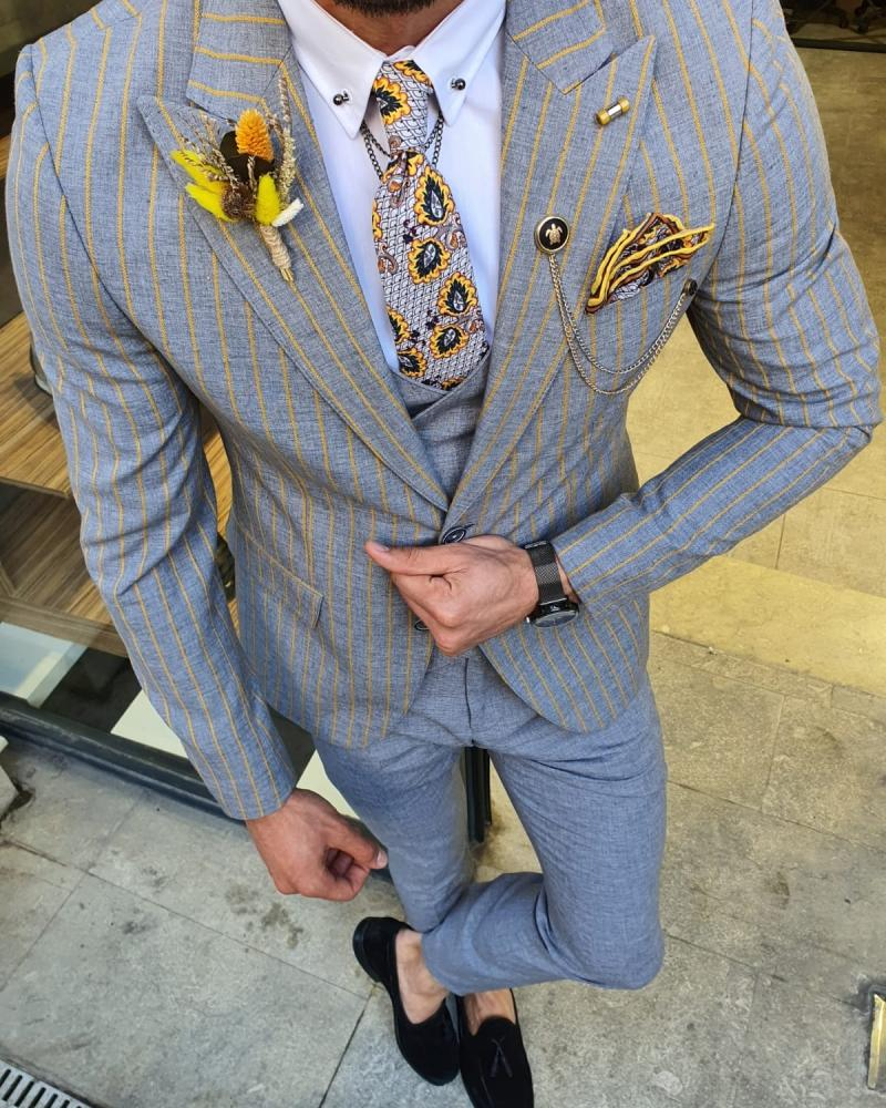 Eros Yellow Slim Fit Pinstripe Suit