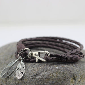 Leather Wrap Bracelet With Feather in Dark Brown - TakeClothe