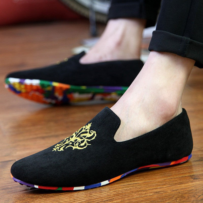 Velvet Loafers With Embroidery (3 Colors) - TakeClothe - 1