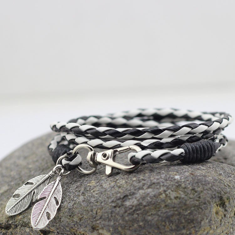 Contrast Leather Wrap Bracelet With Feather - TakeClothe
