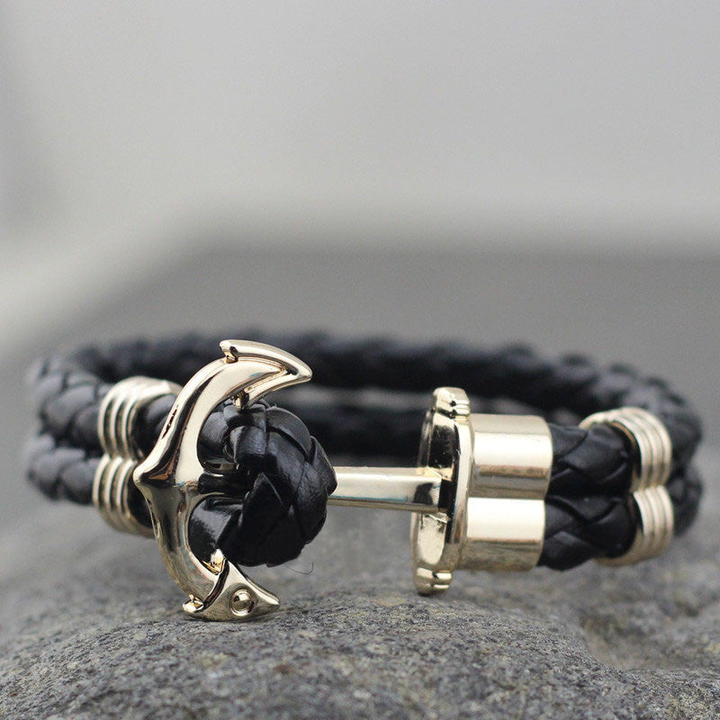 Anchor Leather Bracelet in Black - TakeClothe