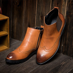 Brogue Chelsea Boots (3 Colors) - TakeClothe - 5