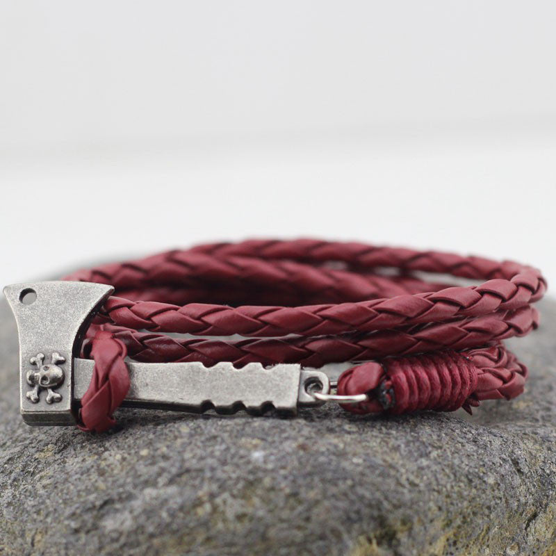 Plaited Leather Wrap Bracelet In Burgundy - TakeClothe