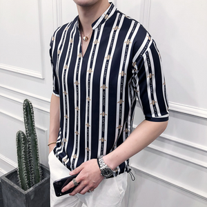 Vertical Striped Printing Shirt