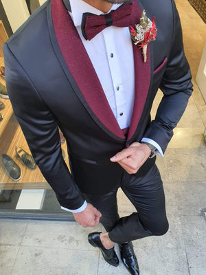Napoli Black Slim Fit Shawl Lapel Tuxedo