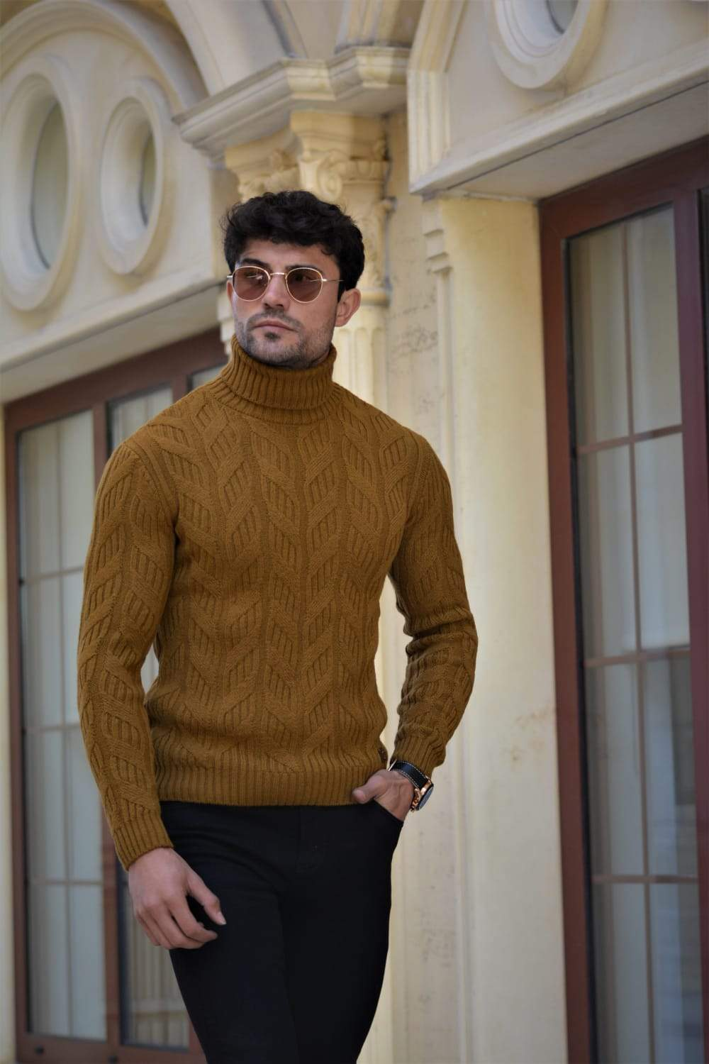Vicenza Slim-fit Patterned Turtleneck wool Knitwear Camel
