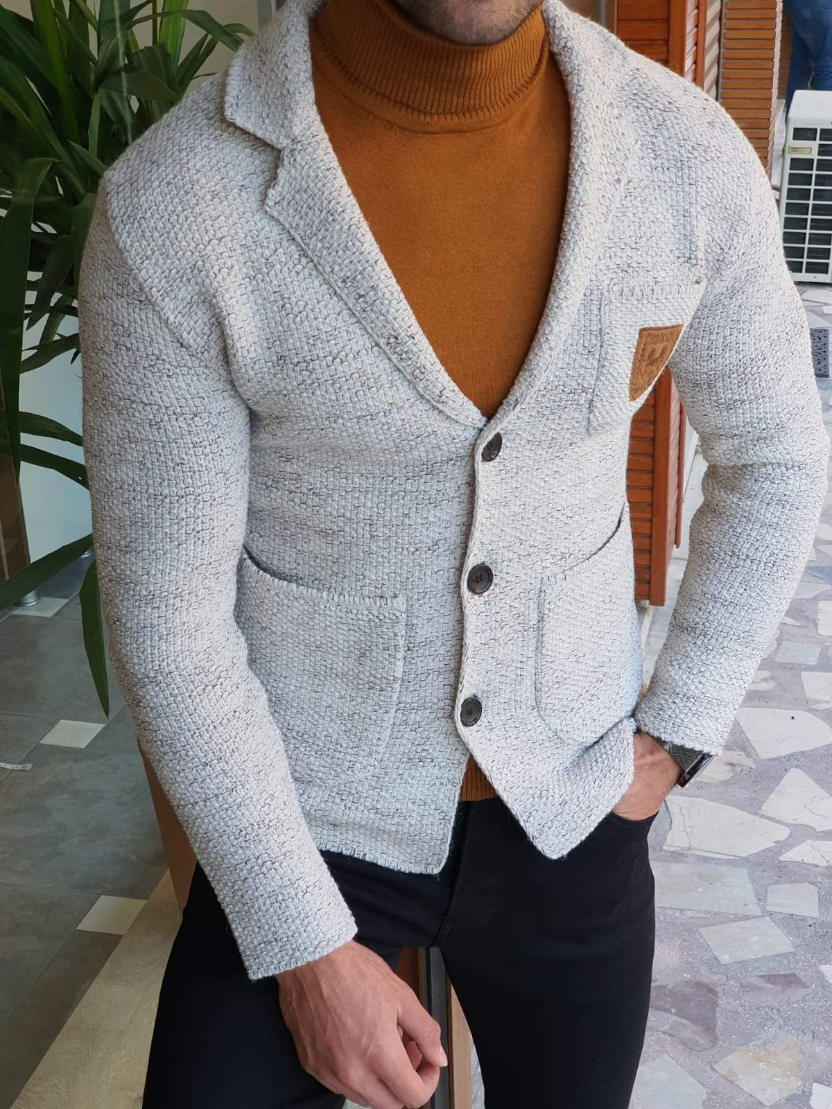 Saponi Slim-fit Buttoned Knitwear Jacket Gray