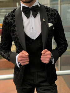 Abboud Black Embroidery Tuxedo