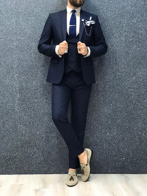 Apollo Navy Blue Slim-Fit Suit