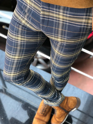 Bakki Slim-Fit Plaid Pants in Blue