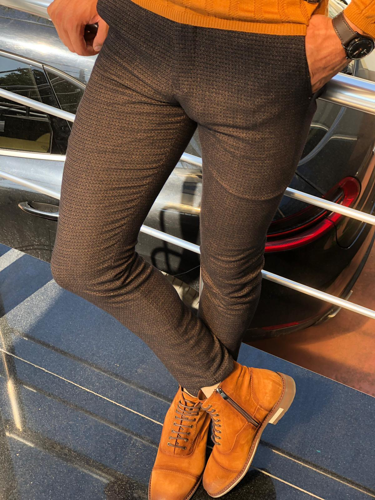 Malacan Slim-fit Patterned Pants Camel