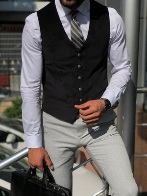 Slim-Fit Velvet Vest Black
