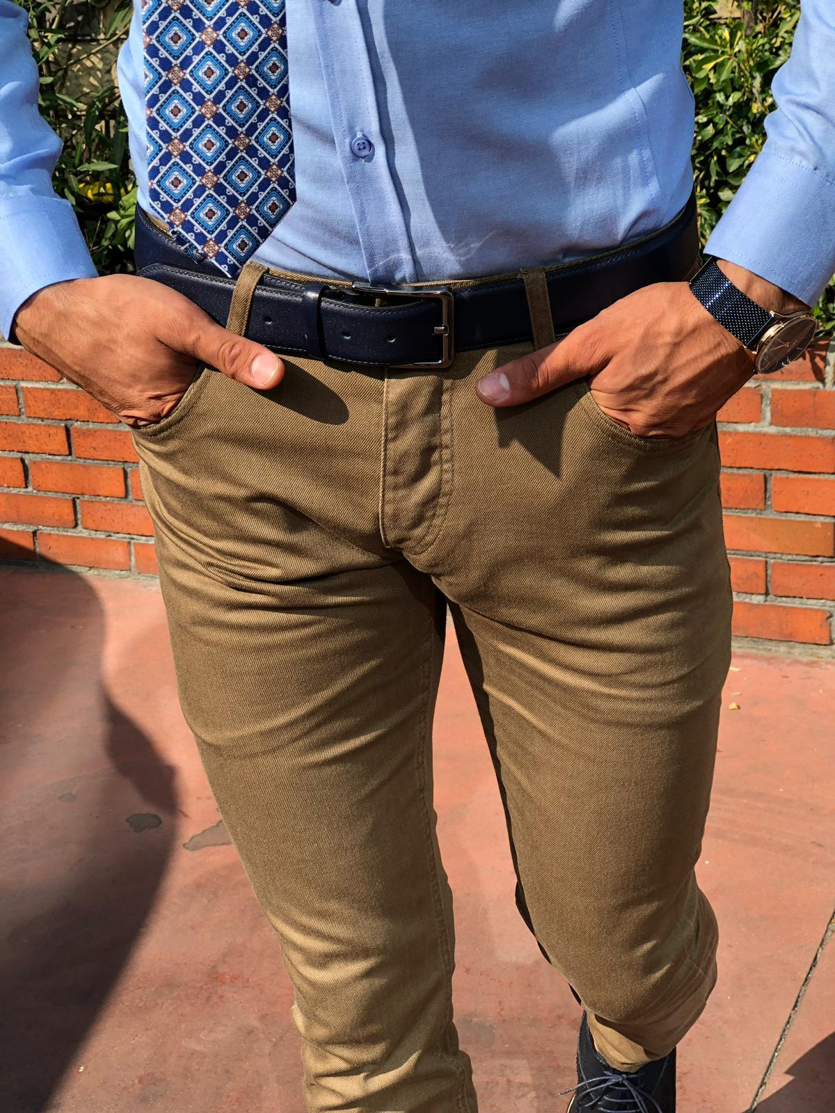 Danson Slim-fit Pants Camel