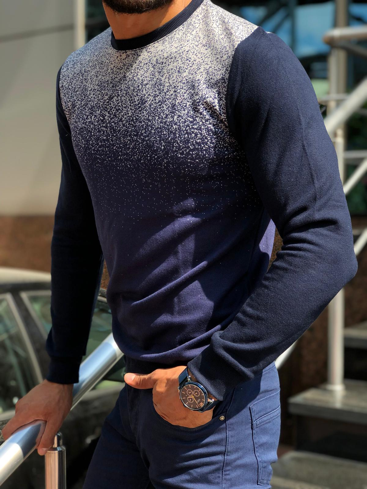 Sapross Dark Blue Slim-Fit Sweater