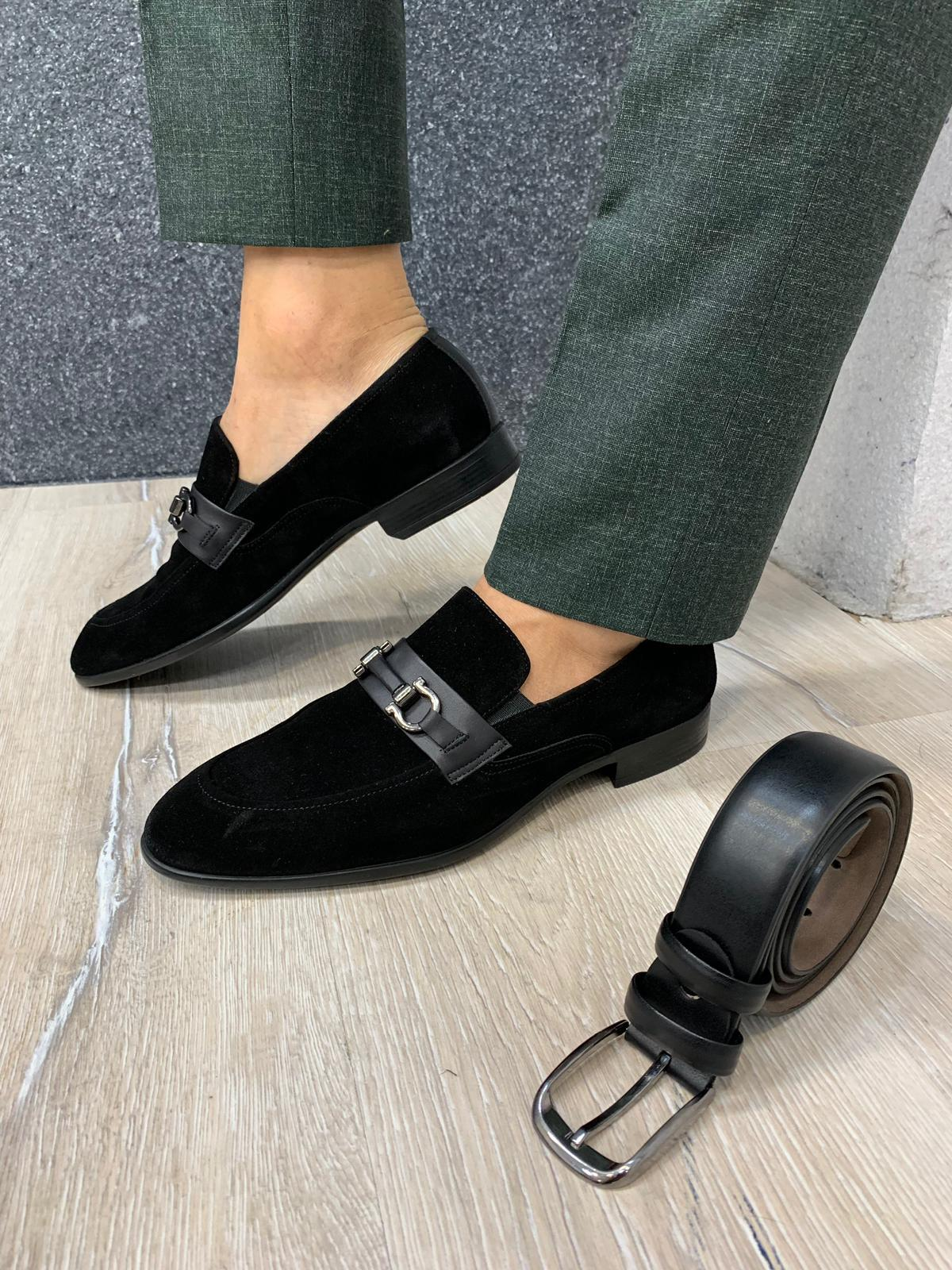 Buckled Suede Shoes Black