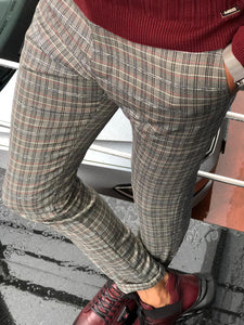 Major Slim-Fit Plaid Pants Grey