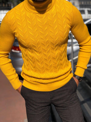 Calvin Slim-Fit Turtleneck Knitwear Yellow