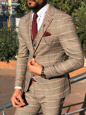 Toni Slim-Fit Plaid Suit Vest BURGUNDY