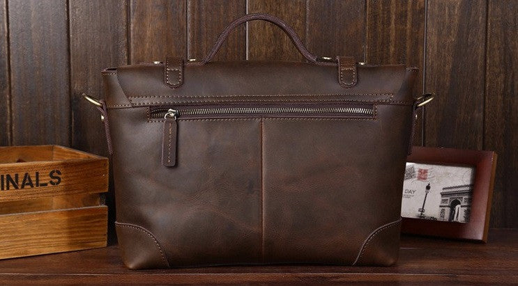 Leather Retro Satchel In Brown With Straps - TakeClothe - 2