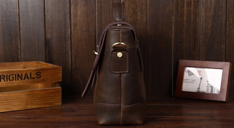 Leather Retro Satchel In Brown With Straps - TakeClothe - 3
