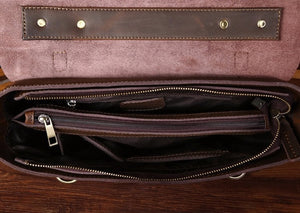 Leather Retro Satchel In Brown With Straps - TakeClothe - 4