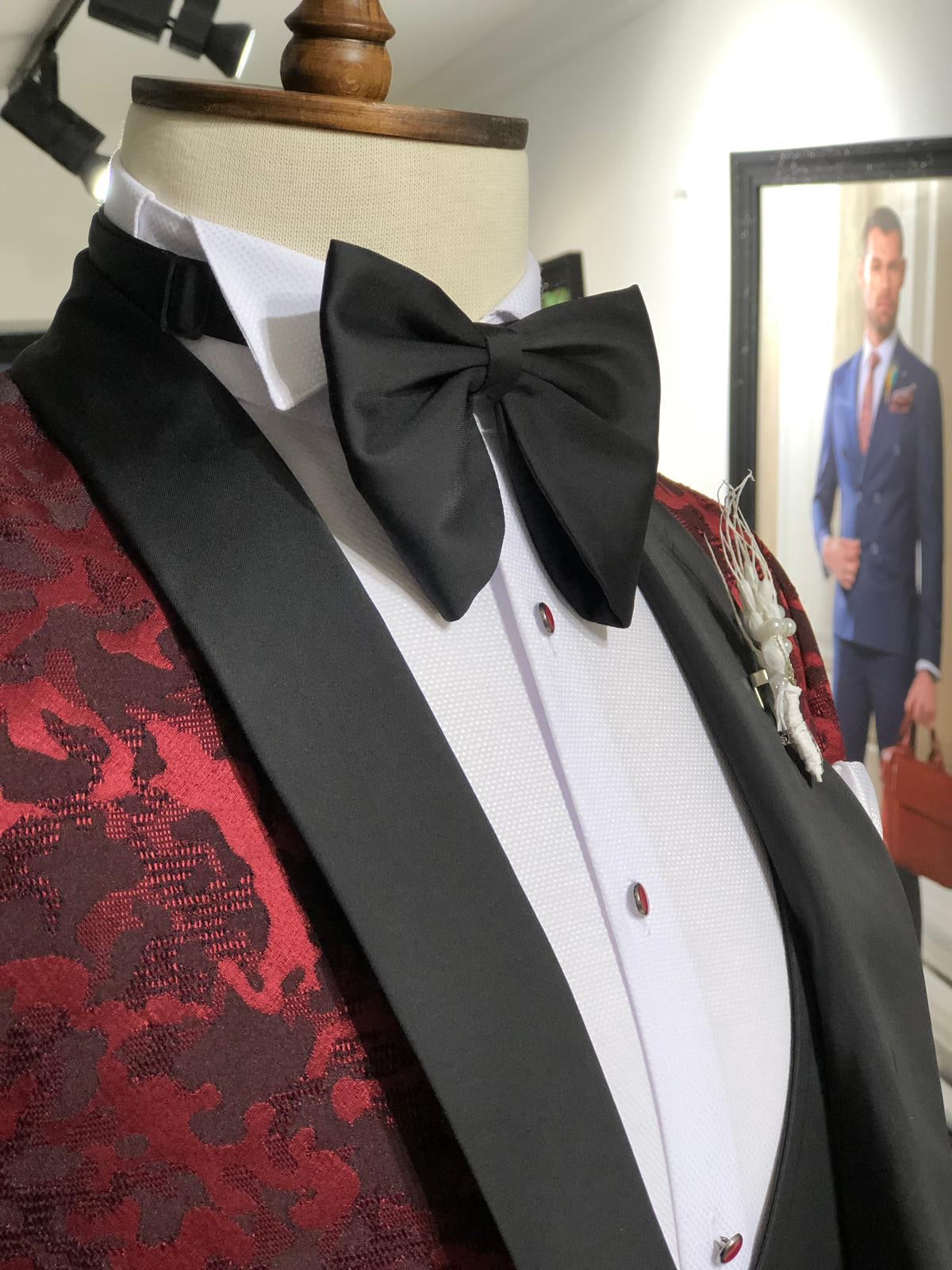 Abboud Claret Red Embroidery Tuxedo