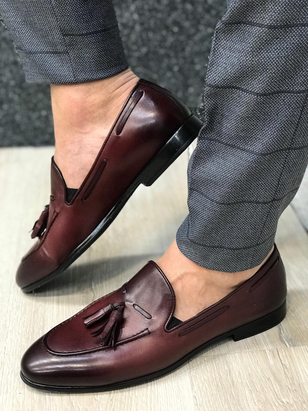 Tassel Leather Burgundy Loafers