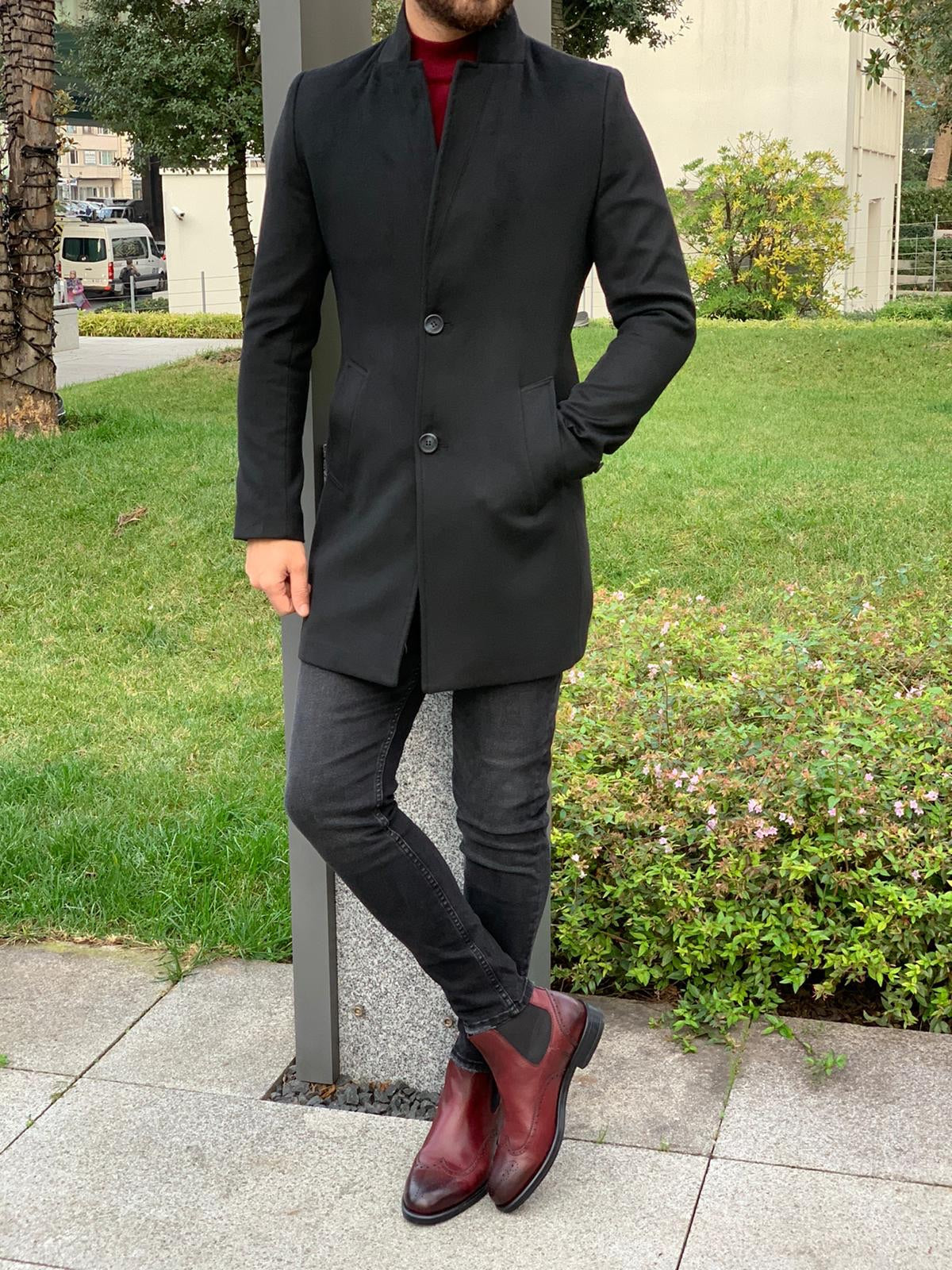 Kenzie Black Slim Fit Wool Long Coat