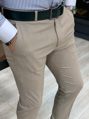 Livonia Cream Plaid Slim Pants