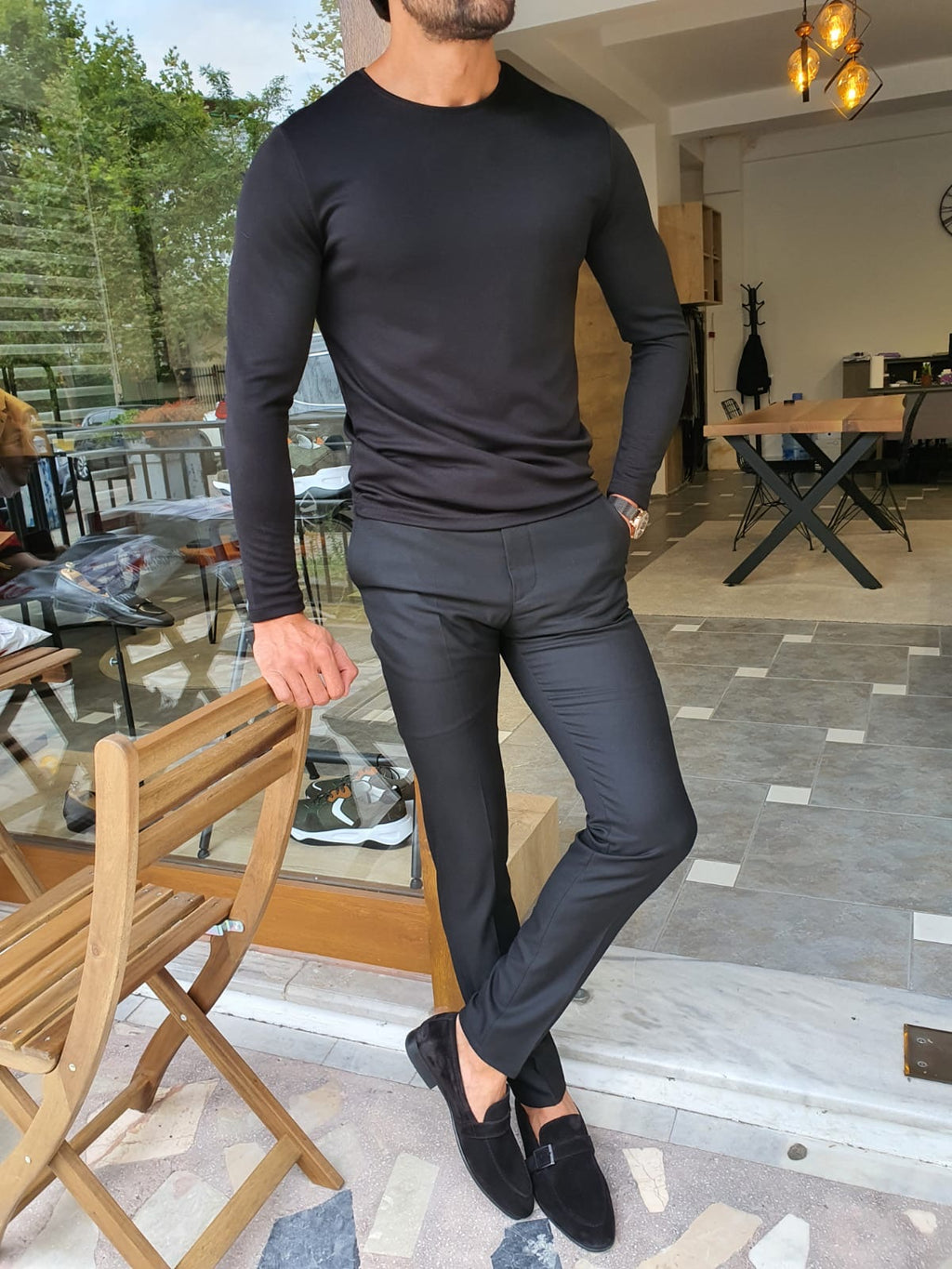 Stefano Black Slim Fit Round Neck Sweater