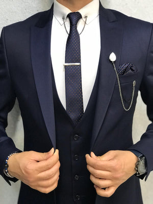 Bernard Navy Shine Slim Suit