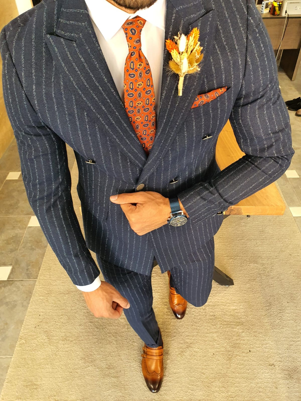 Henderson Navy Blue Pinstripe Double Breasted Suit