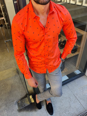 Henderson Orange Slim Fit Floral Shirt