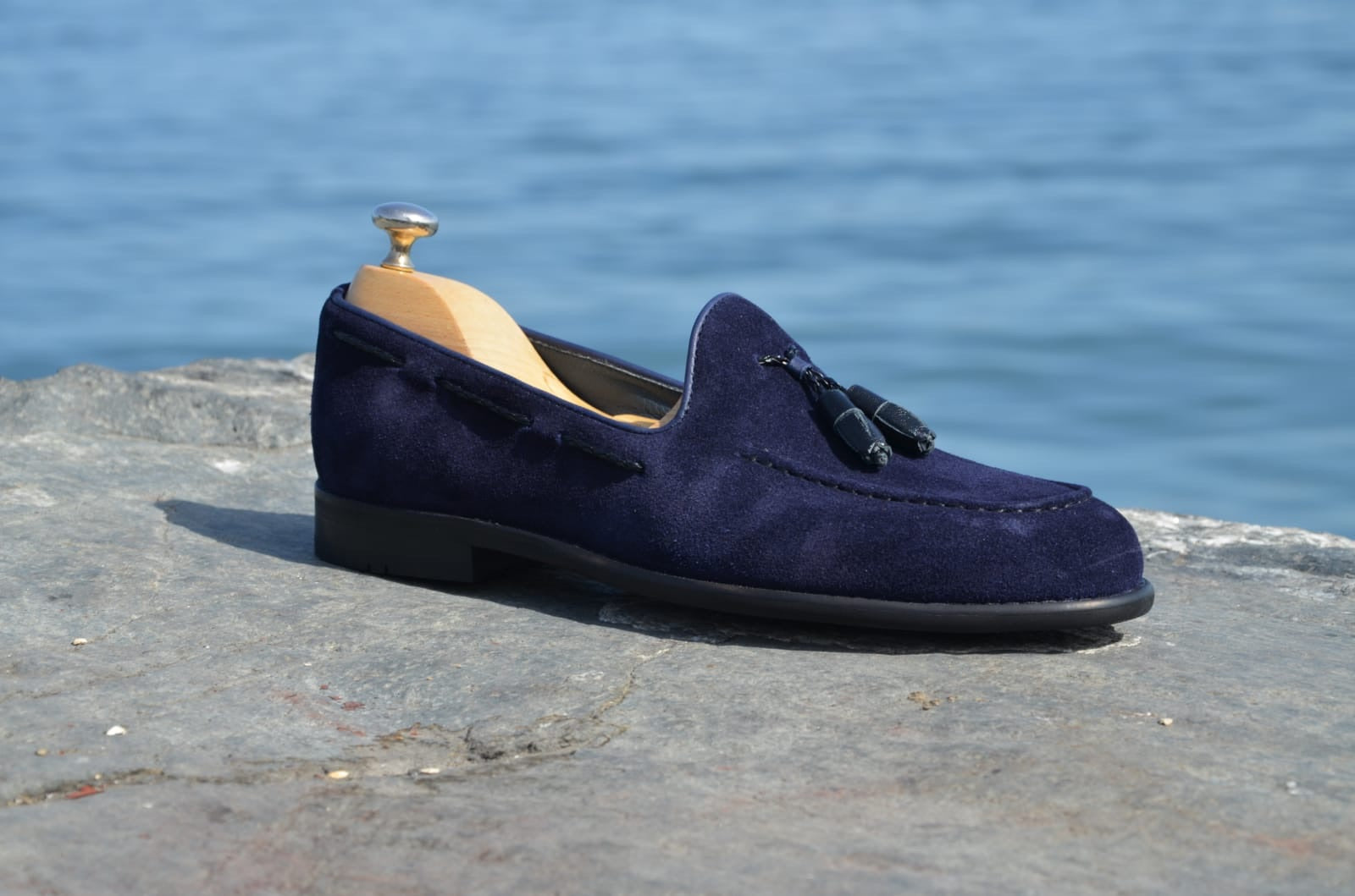 Suade Calf- Leather Loafer Shoes Navy Blue