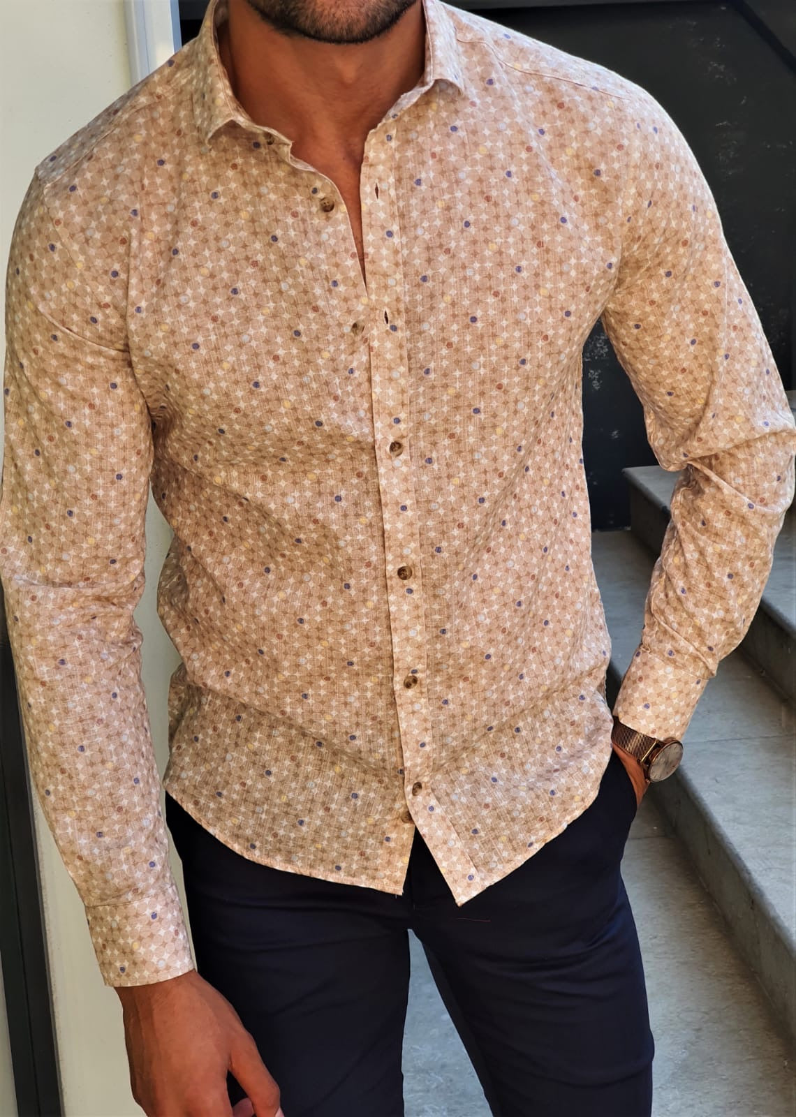 Stefano Beige Patterned Cotton Shirt
