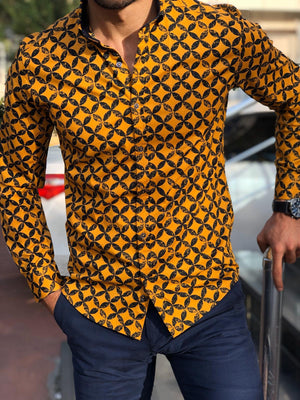 Eli Mustard Slim Fit Patterned Shirt